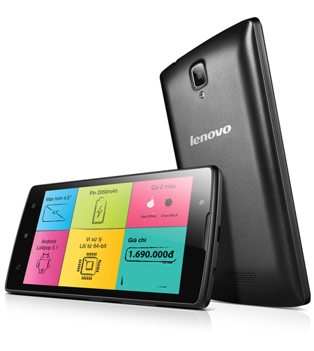 Smartphone Lenovo 1,7 triệu đồng chạy Android Lollipop